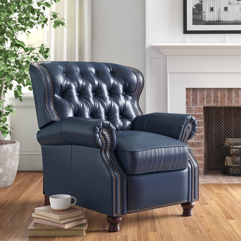 """Tayla 34.5"""" Wide Genuine Leather Manual Wing Chair Recliner"""