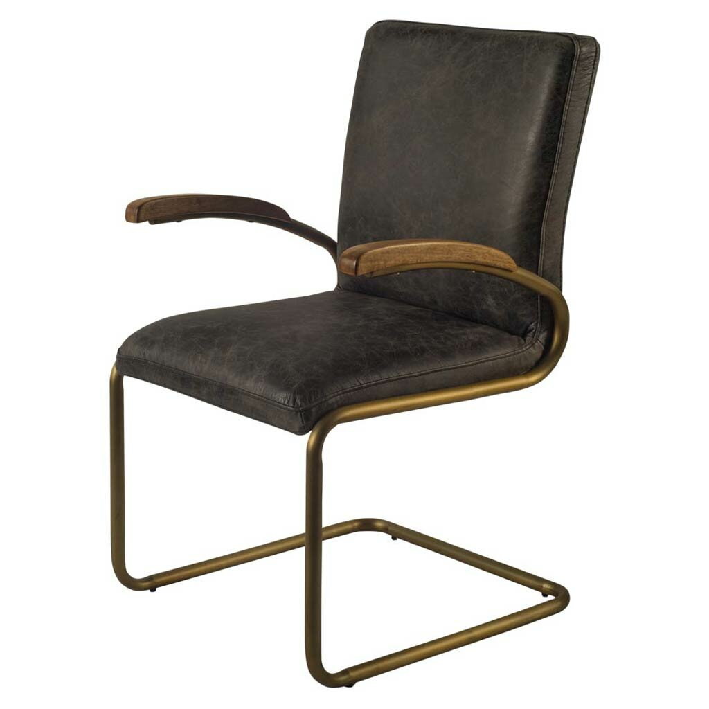 Gracie Oaks Irvington Cantilever Genuine Leather Upholstered Dining Chair Wayfair