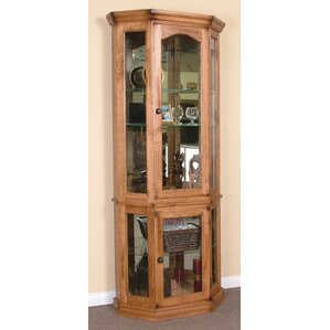 Fresno Lighted Corner Curio Cabinet by Loon Peak