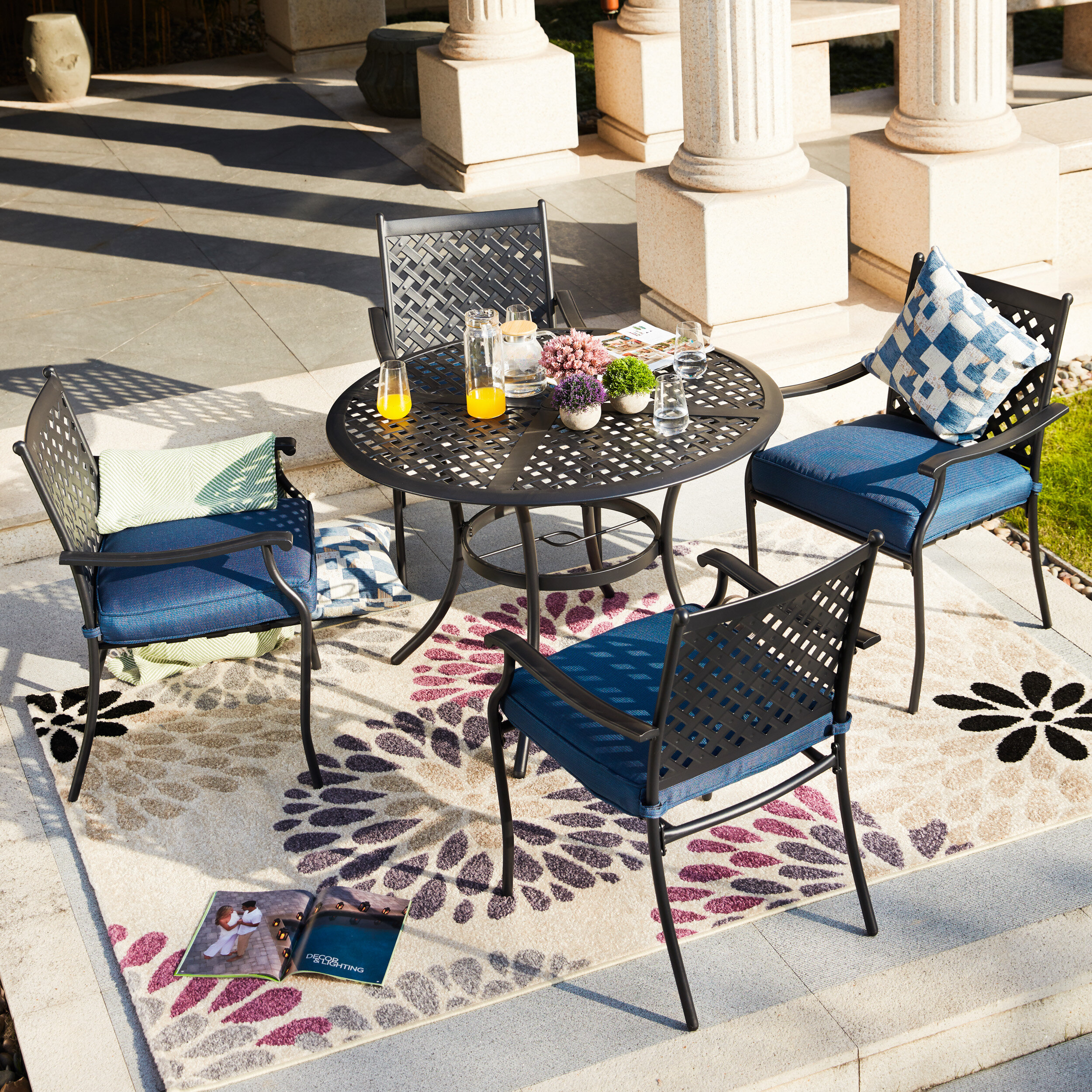 Charlton Home Shipp Round 4 Person 42 Long Dining Set With Cushions Reviews Wayfair