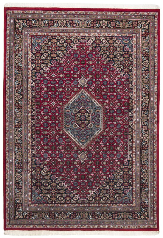 Hand Knotted Wool Red Blue Rug
