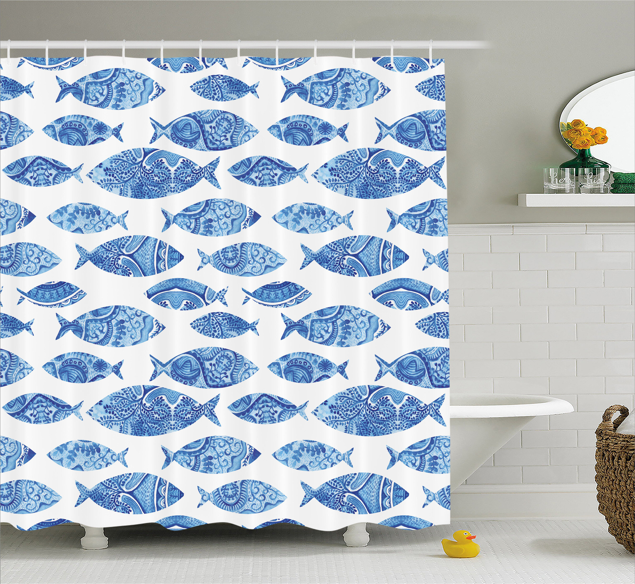 Rosecliff Heights Kentshire Mosaic Fish Decor Shower Curtain
