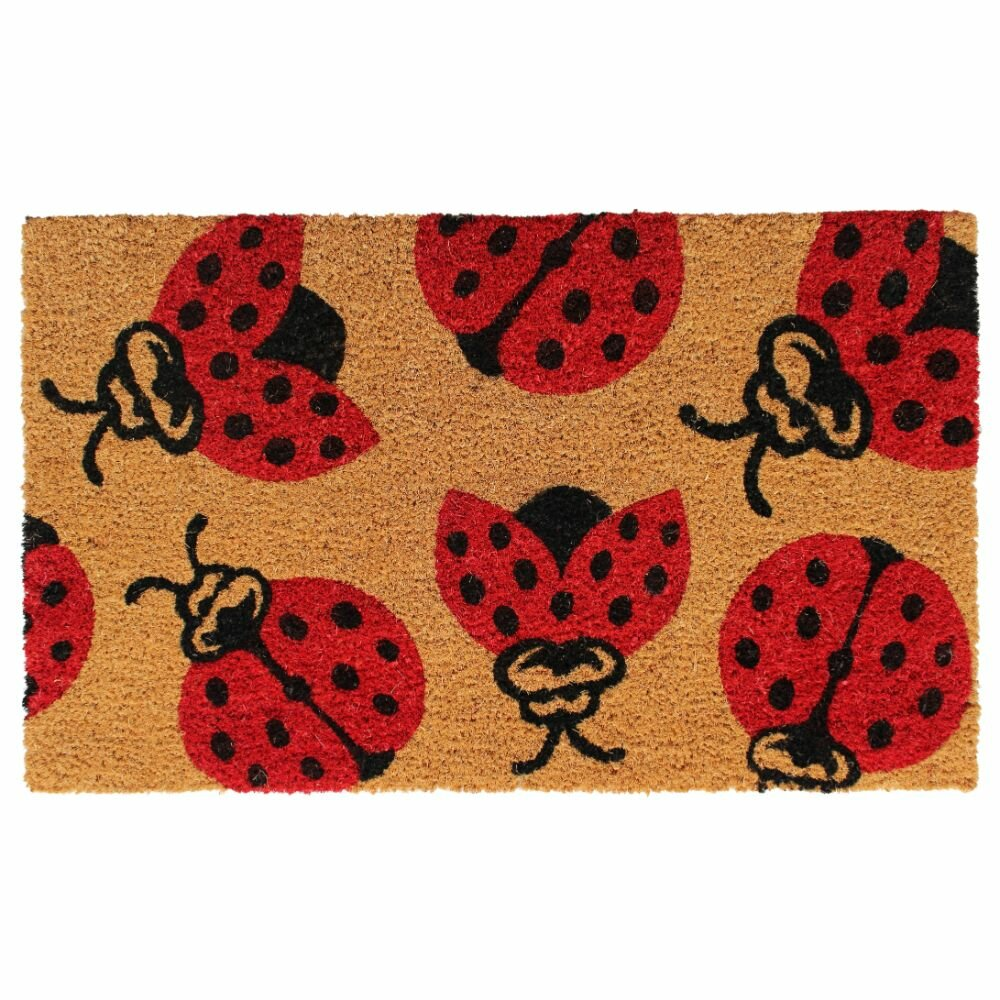 Rosalind Wheeler Adilynn Lady Bug 30 In X 18 In Non Slip Indoor Outdoor Door Mat Wayfair