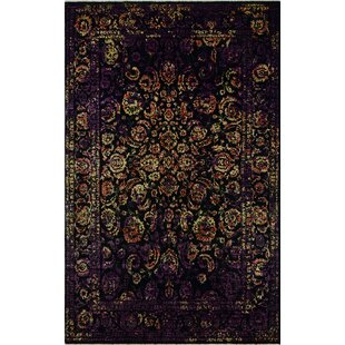 Best Price Oneman Hand-Knotted Wool Black Area Rug ByWorld Menagerie