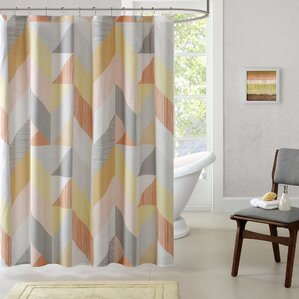 brown and orange shower curtain. Horta Cotton Printed Shower Curtain Modern Orange Curtains  AllModern