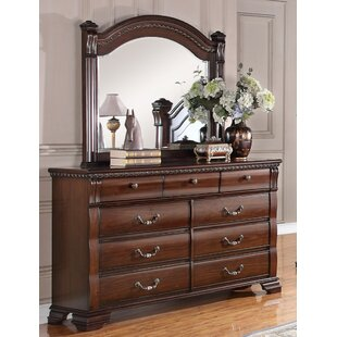 Pfeiffer 9 Drawer Double Dresser with Mirror