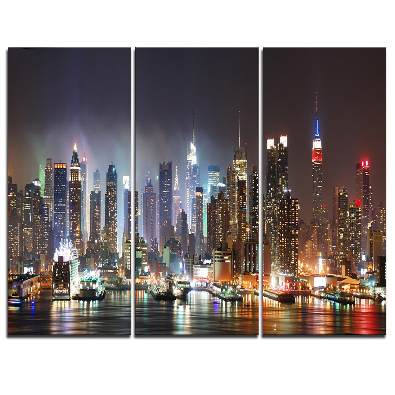 NYC SKYLINE//MANHATTAN NIGHT framed 3 piece canvas wall art//better than stretched
