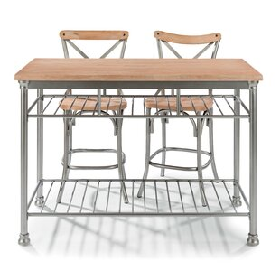 Hamann 3 Piece Kitchen Island Set with Butcher Block Top