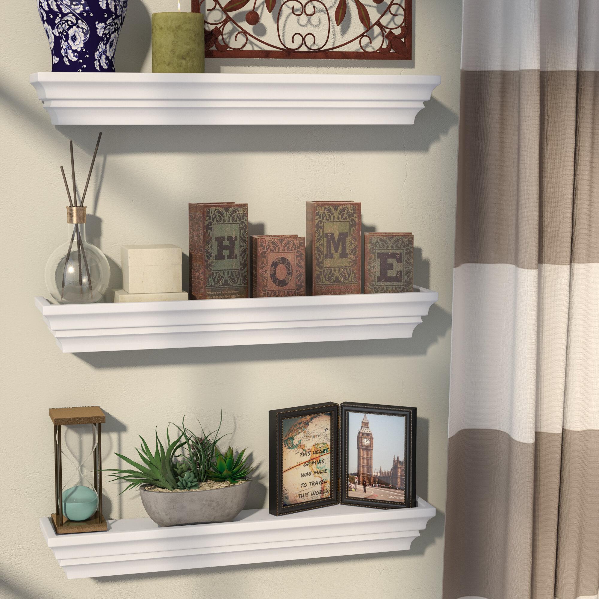 Alcott Hill Contoured 3 Piece Floating Shelf Set Reviews Wayfair