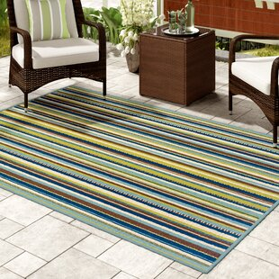 Brendel Blue/Brown Striped Indoor/Outdoor Area Rug by Andover Mills Looking for