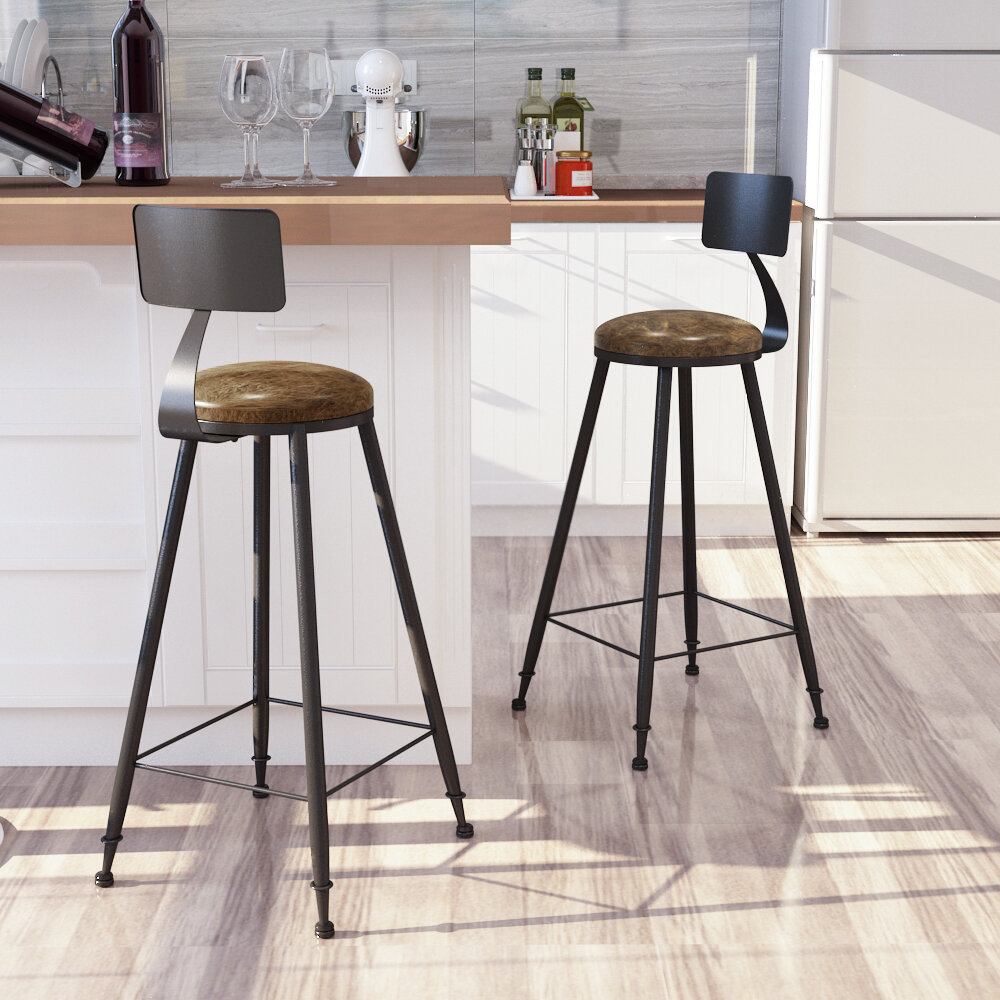 Bar Stools, Tall Bar Chairs With Backrest, Set Of 9 Kitchen Stools,  Heavy Duty Steel Frame, 9.9 Inch High, Easy Assembly, Industrial, Rustic  Brown