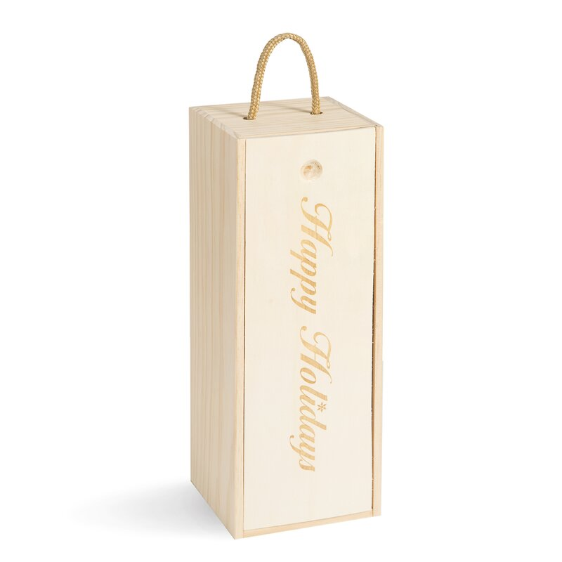 Happy Holidays Wooden Wine Gift Box