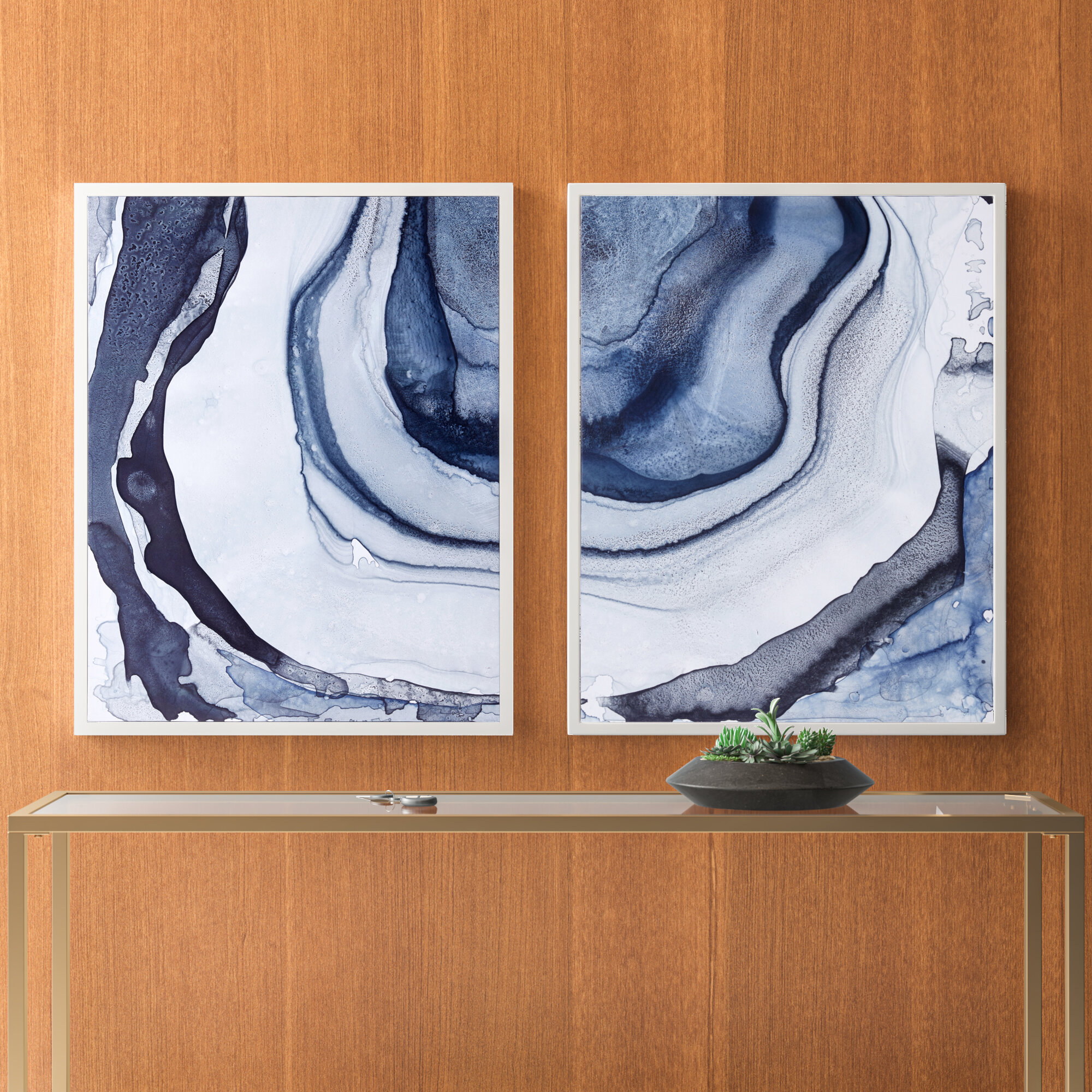 Black Streaks Abstract Room Artwork Print 2 Piece Framed Canvas Wall Art Set