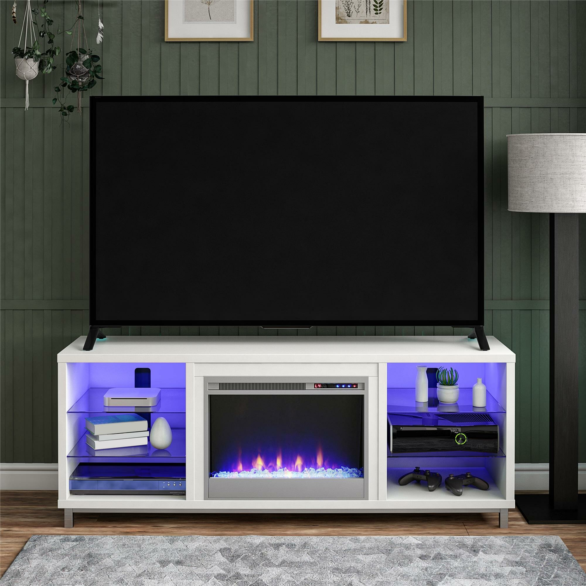 Wade Logan Hetton Tv Stand For Tvs Up To 70 With Fireplace Included Reviews Wayfair