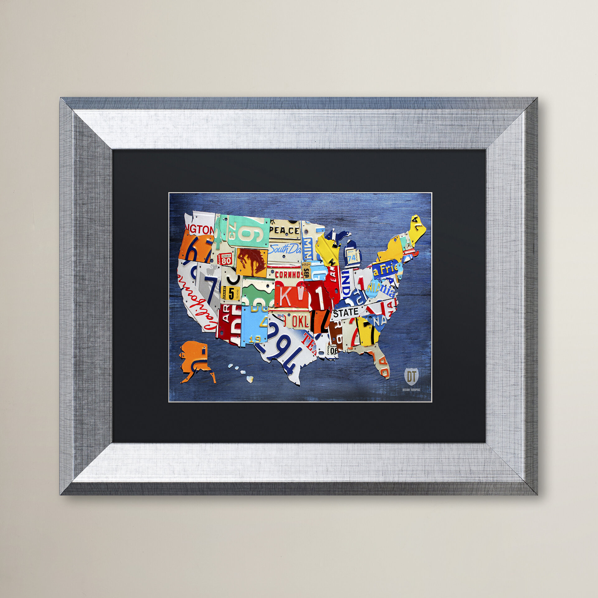 Latitude Run Usa Map By Design Turnpike Picture Frame Graphic Art Print On Canvas Wayfair