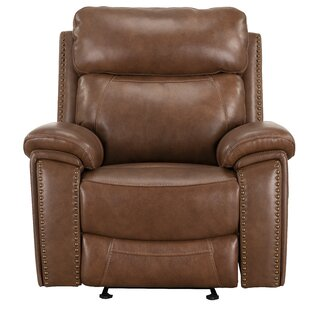 Yeager Leather Power Glider Recliner by Loon Peak