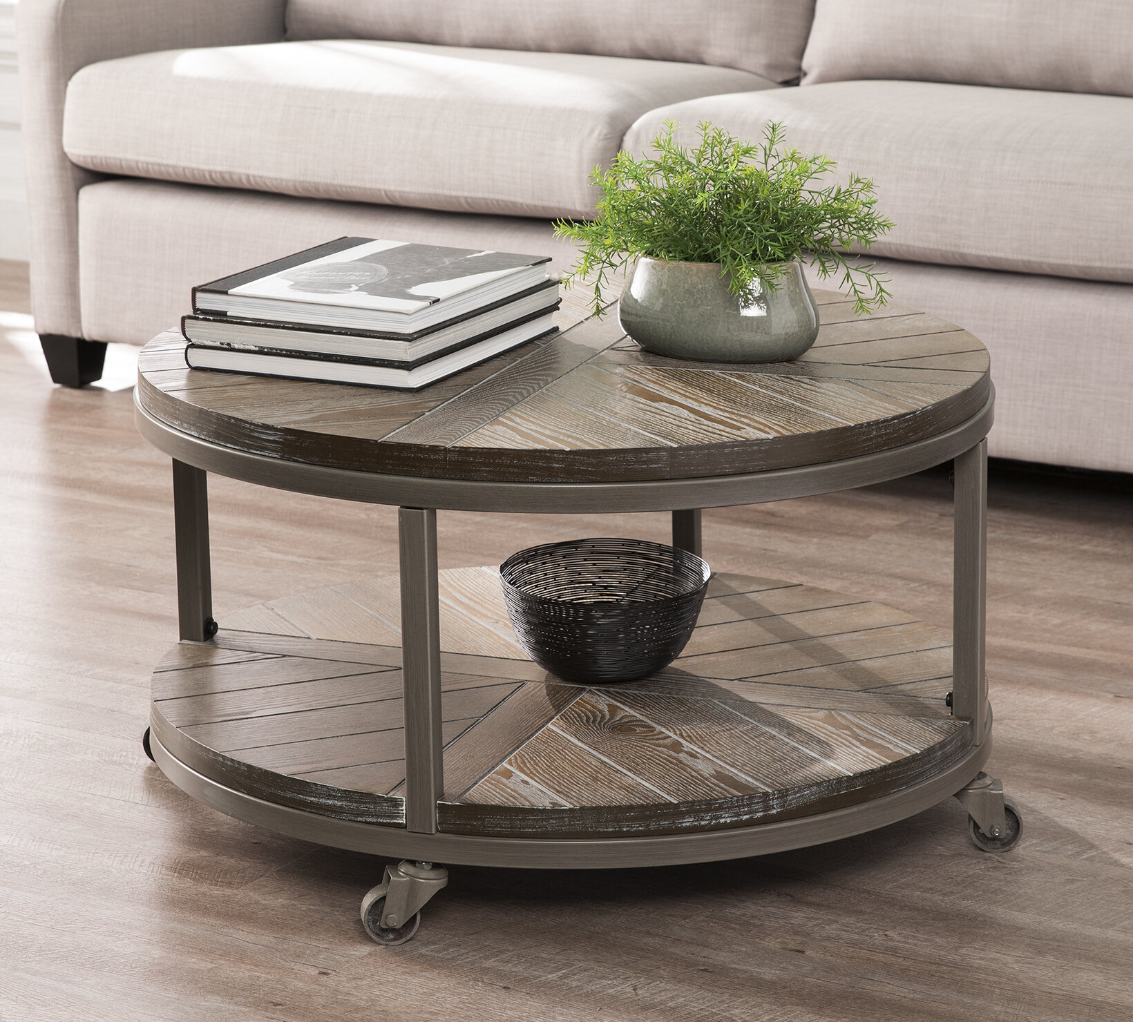 Union Rustic Brien Wheel Coffee Table
