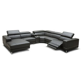 Shultz Leather Reclining Sectional Orren Ellis