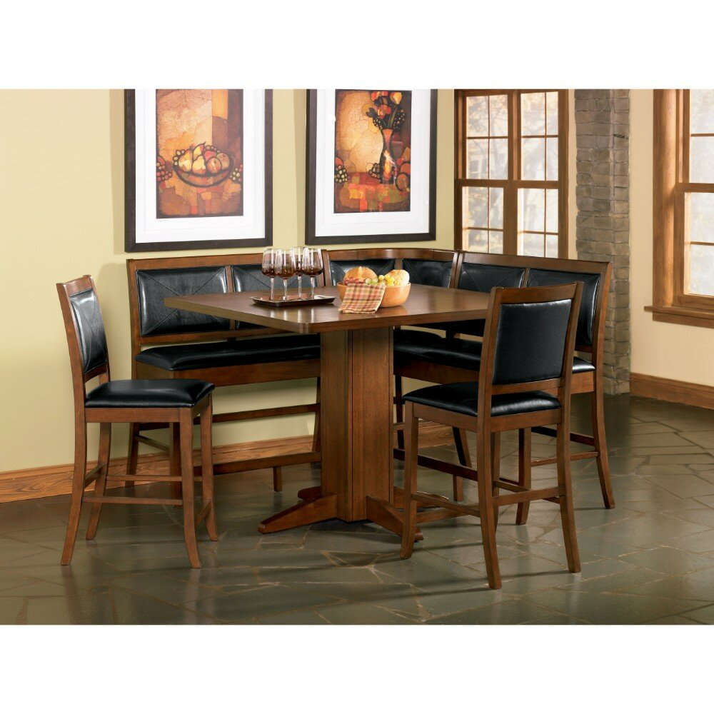 Merveilleux Babbey Counter Height Dining Corner Leather Bench