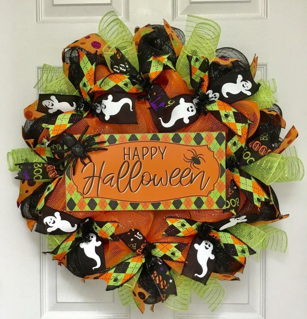 The Holiday Aisle Happy Halloween Argyle 24 Deco Mesh Wreath Wayfair