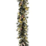 9' Glitter Pine Pre-Lit Garland with Clear/White Lights