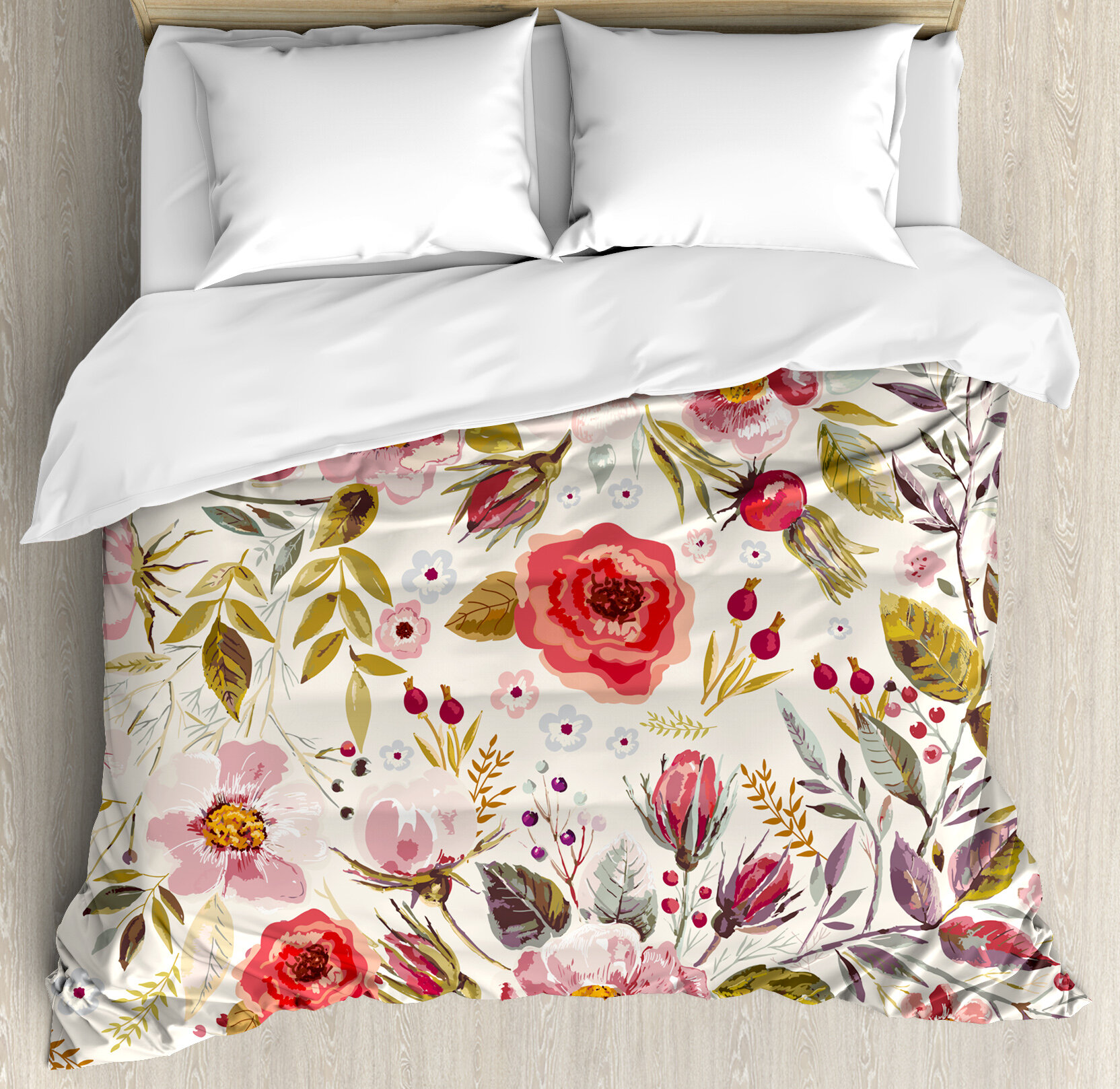 East Urban Home Hand Drawn Watercolor Style Flowers Roses Blooms