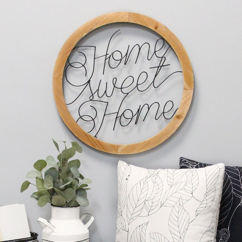 Gracie Oaks Wood And Metal Home Sweet Script Wall Décor Reviews Wayfair