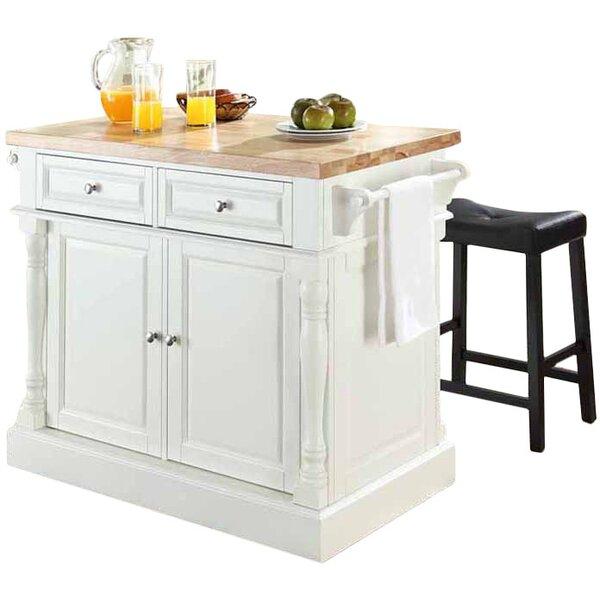 Haslingden 3 Piece Kitchen Island Set With Butcher Block Top B000582735 Tradewins Furniture