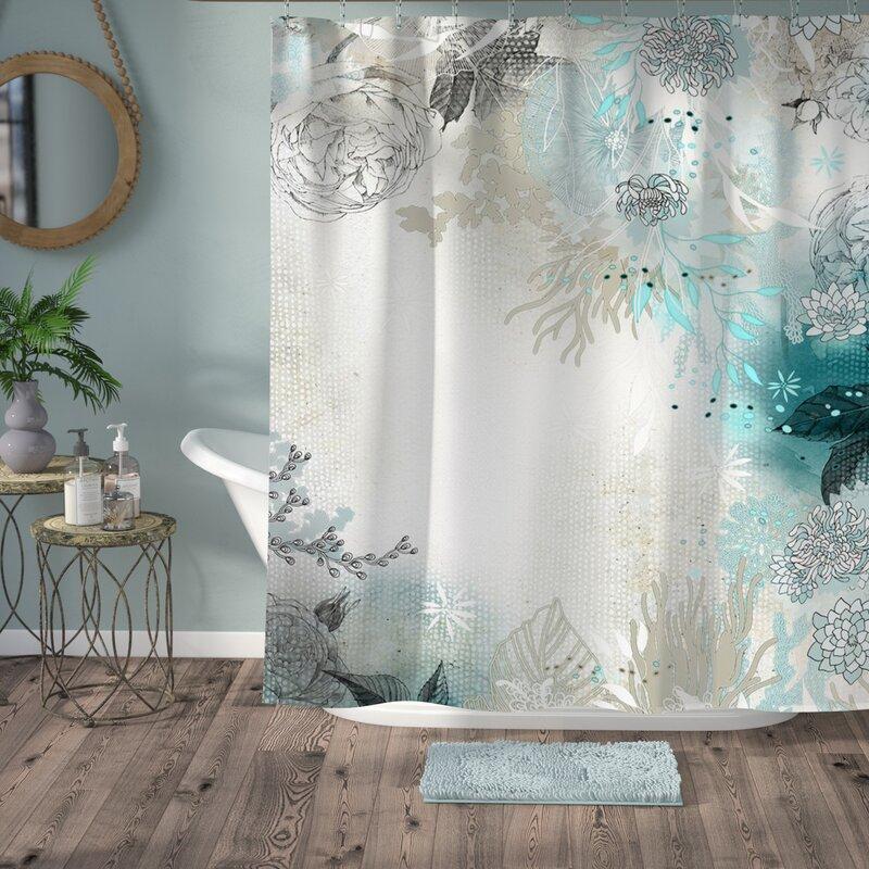 Bungalow Rose Holley Seafoam Single Shower Curtain Reviews Wayfair