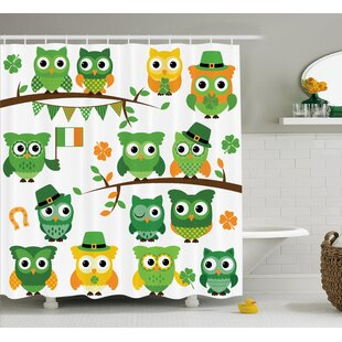 St. Patrick'S Day Irish Owls With Leprechaun Hats on Trees Shamrock Leaves Horseshoe Single Shower Curtain