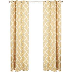 Tanesha Geometric Semi-Sheer Grommet Curtain Panels (Set of 2)
