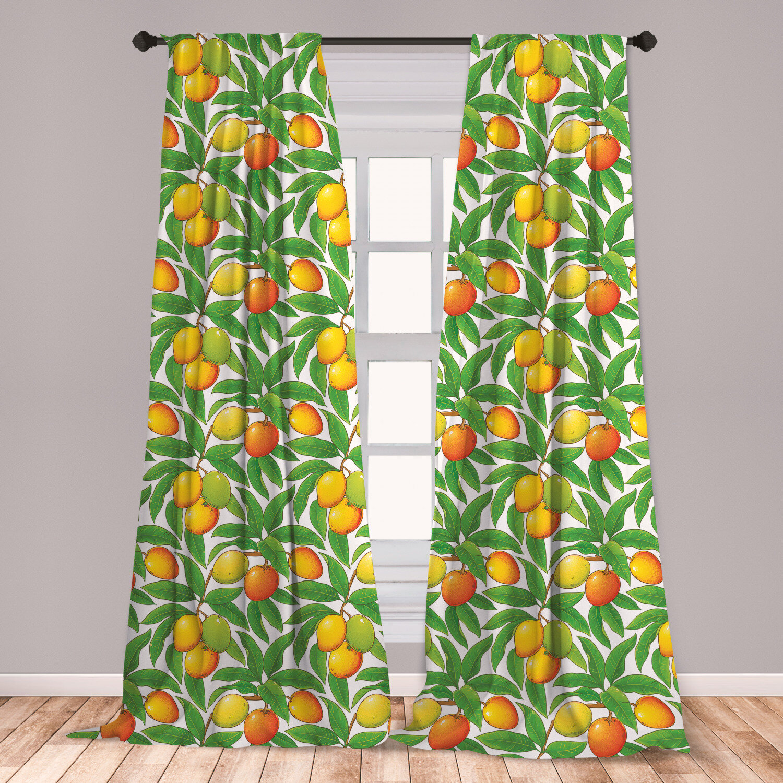 East Urban Home Fruit Floral Room Darkening Rod Pocket Curtain Panels Wayfair