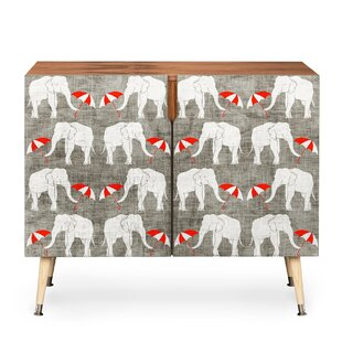 Elephant and Umbrella 2 Door Accent Cabinet