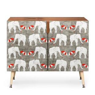 Elephant and Umbrella 2 Door Accent Cabinet