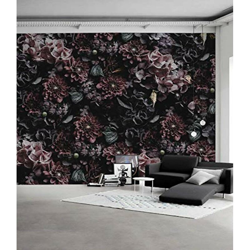 House Of Hampton Peel And Stick Roses Dark Floral Removable Wallpaper Wayfair