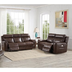 Efren Reclining 2 Piece Leather Living Room Set