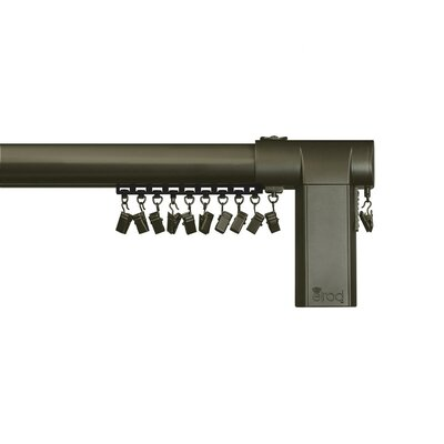 Beme International Motorized Erod Center Open Single Curtain Rod and Hardware Set Size: 26 - 40 W, Finish: Coffee