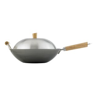 Helen's Asian Kitchen 4 Piece 14 Carbon Steel Wok Set with Lid By HAROLD IMPORT COMPANY