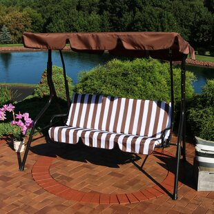 Sunseri 3-Person Striped Seat Outdoor Canopy Patio Porch Swing