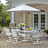 Flagg Cast Aluminum Outdoor 8 Piece Dining Set with Cushions