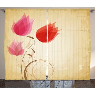 Tulips Room Darkening Rod Pocket Curtain Panels (Set of 2) by East Urban Home