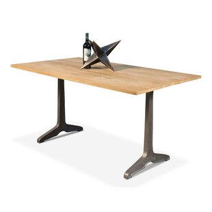 Rutherford Metal Pedestal Solid Wood Dining Table