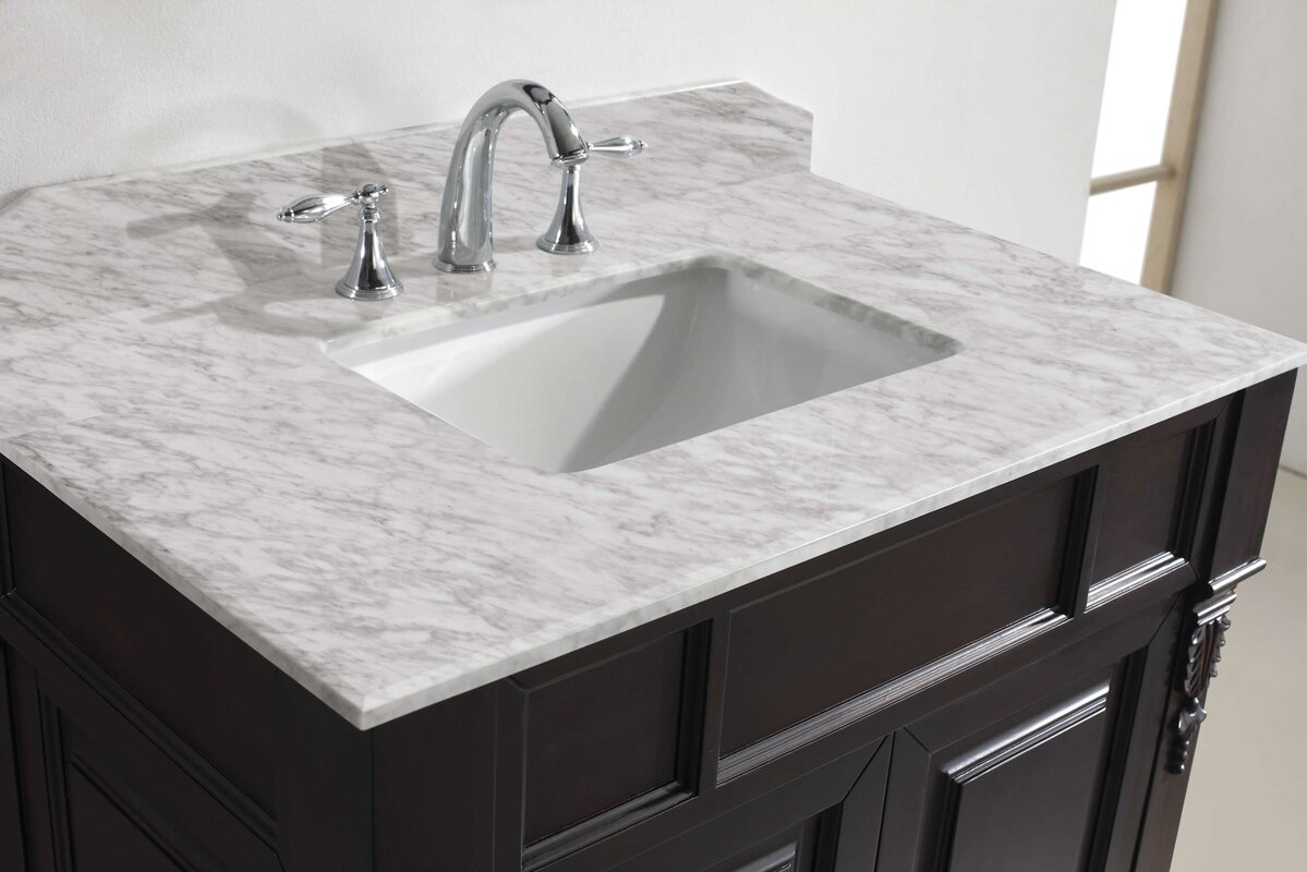"Huntshire 36"" Single Bathroom Vanity Set with White Marble Top and Mirror"