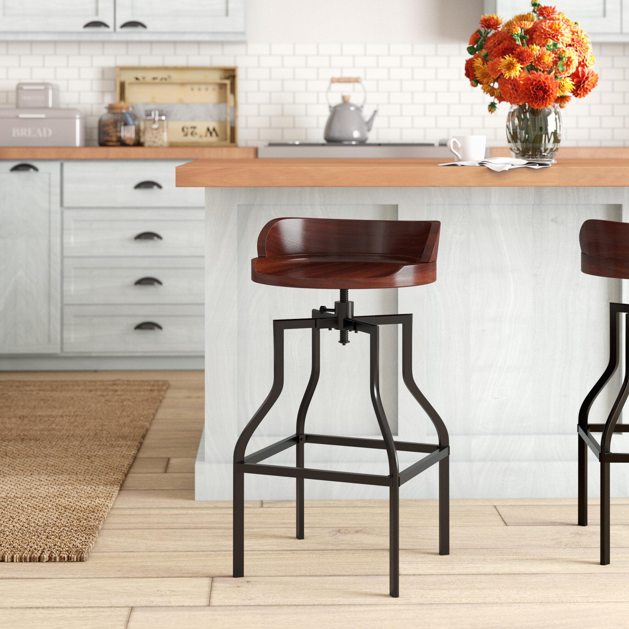 Willacoochee Swivel Solid Wood Adjustable Height Bar Stool
