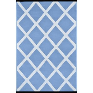 Lightweight Reversible Powder/White Indoor/Outdoor Area Rug