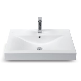 Reviews Mona Ceramic Rectangular Drop-In Bathroom Sink with Overflow By CeraStyle by Nameeks