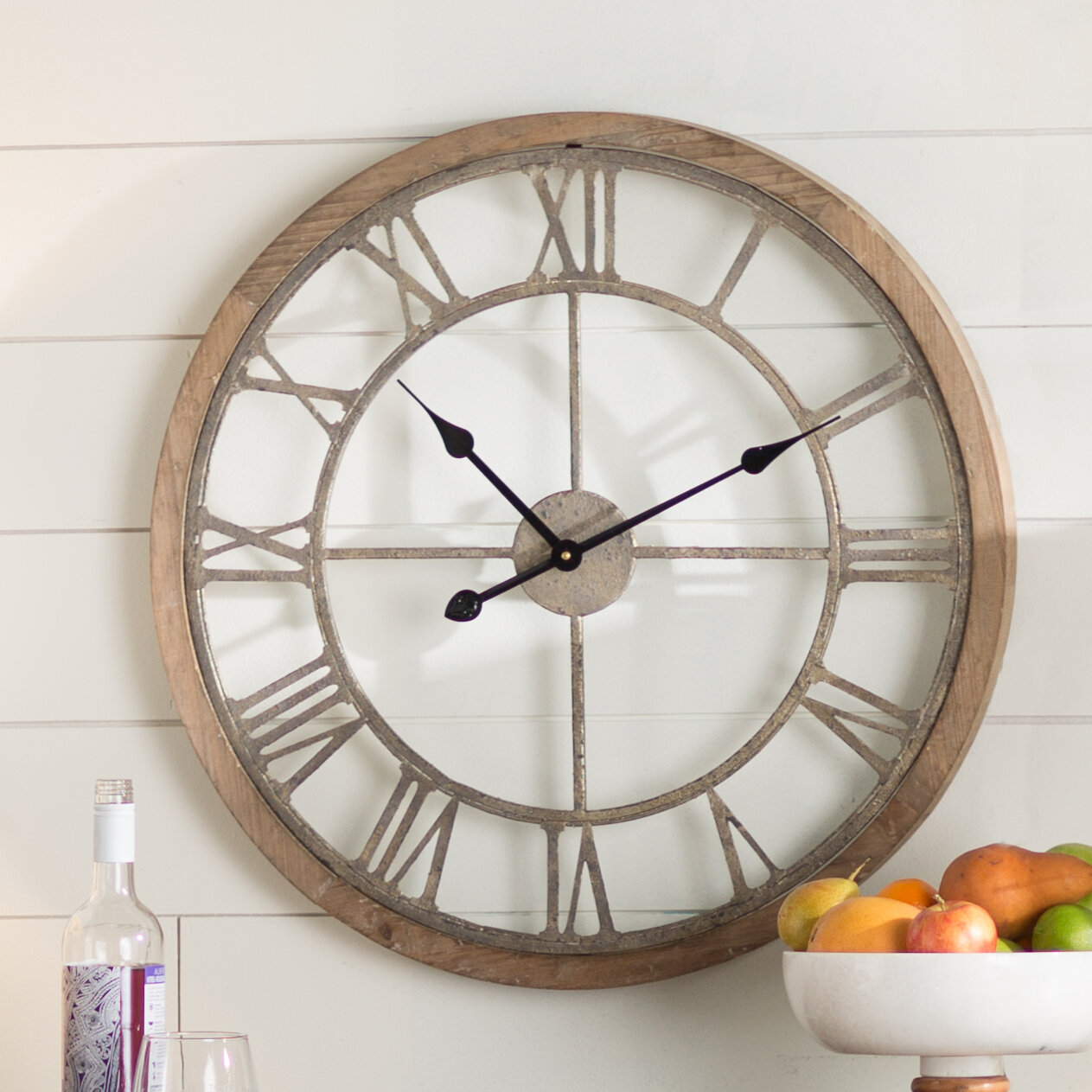 laurel foundry modern farmhouse natural wood wall clock reviews