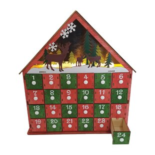 burrier lighted reindeer advent calendar - Wooden Christmas Advent Calendar