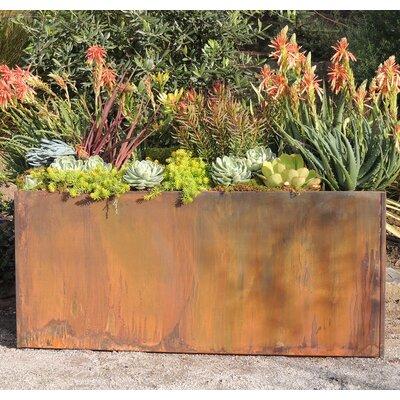 17 Stories Elisabetta Corten Steel Planter Box Casters No Size 16 inch H x 38 inch W x 15 inch D