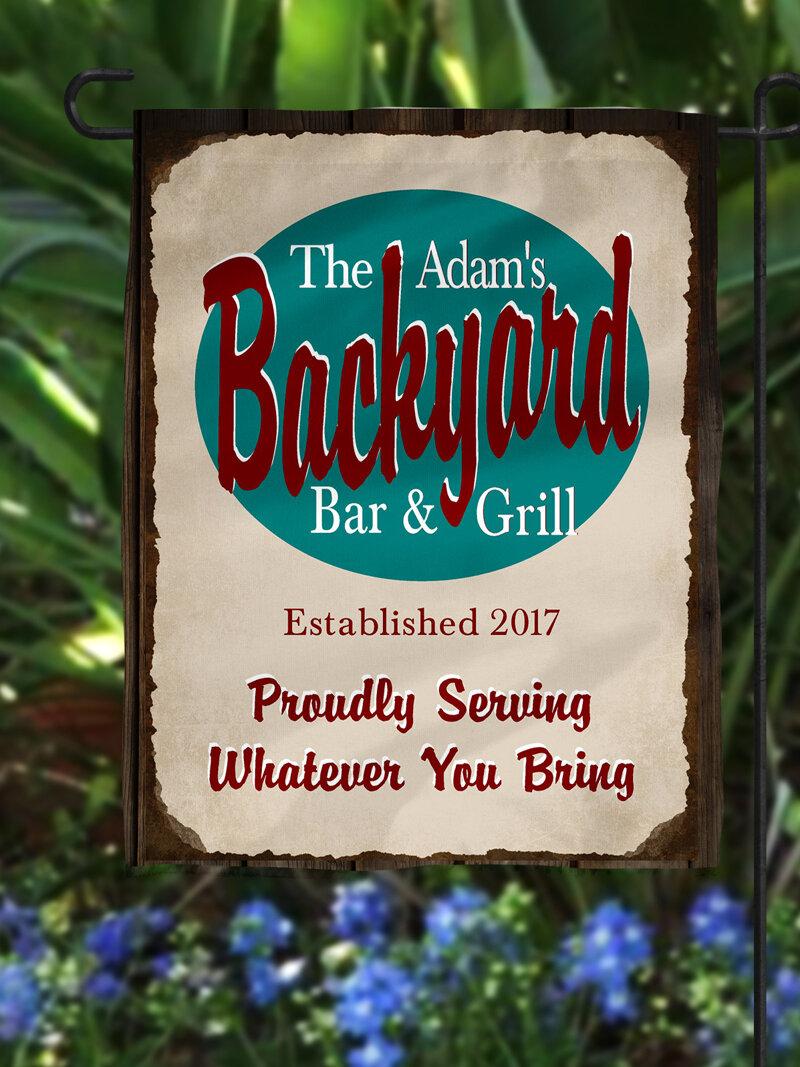 Heartland Signs Personalized Backyard Bar Grill Polyester 18 X 12 In Garden Flag Wayfair